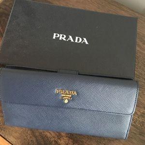 Prada navy blue Saffiano continental long wallet